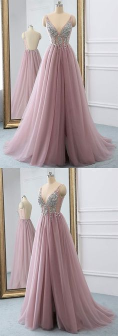 2019 Tulle Beading A-Line V-Neck Prom Dresses WIth Sweep Train, This dress could be custom made, there are no extra cost to do custom size and color V Neck Prom Dresses, Tulle Prom Dress, Prom Dresses Online, Cheap Prom Dresses, Evening Dresses, Girls Dresses, Sexy Dresses, Nice Dresses, Inexpensive Wedding Dresses