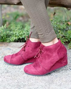 Take your every day shoe to a new level with this bootie. Ankle boots are a huge trend this season and with the wedge heel you'll find yourself reaching for these faux suede boots on a regular basis.