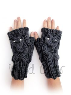 Knit Owl Cable Fingerless Gloves. Charcoal or 44 Colors. Grey Arm Warmers. Crystal Eyes Owl. Winter Accessory for Women and Teens. Arm Cuffs by VividBear on Etsy