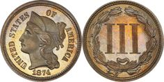 1874 Three Cent Nickel PCGS PR67 CAC (EST: $8,000.00+, No Reserve) | READ MORE AND BID NOW: http://www.legendmorphyauctions.com/search/details/c/Classic_U.S._Coins/g/2-Cent_3-Cent_Pieces?id=102285&lotId=2467