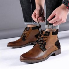Men's leather casual plus velvet leather boots – ChicMay Mens Boots Fashion, Womens Fashion, Leather Men, Leather Boots, Tanker Boots, Timberland Boots, Men's Shoes, 4x4, Bass