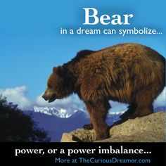 A bear in a dream can represent power, or a power imbalance...  More at TheCuriousDreamer.  #DreamMeaning #DreamSymbols