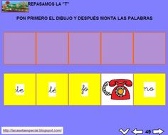 MATERIALES - Juegos LIM de lectoescritura: t  Se trata de juegos hechos con el editor de actividades EdiLim para trabajar la lectoescritura de manera divertida. Cada juego trabaja una letra y encontraremos actividades como: unir imagen con palabra, juego de memoria, ordenar sílabas y ordenar palabras para formar frases.  Descomprimir la carpeta JOC_EDILIM_T.zip y pulsad dos veces sobre el archivo repasamos_la_t.html.  http://arasaac.org/materiales.php?id_material=1199