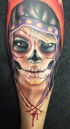 They can be epic and fierce. | 41 Amazing Sugar Skull Tattoos To Celebrate Día De Los Muertos