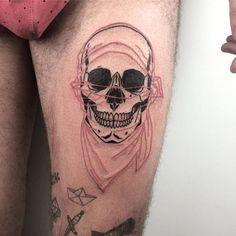 Blackwork skull overlay tattoo by Louis Loveless. #LouisLoveless #LouisBarberCruz #blackwork #street #skull