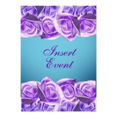 Aqua purple wedding elegant roses personalized invites