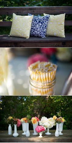 simple details including milk glass vases with wildflowers Vase Arrangements, Vases, Wedding Reception, Wedding Ideas, Milk Glass Vase, Wedding Decorations, Table Decorations, Glass Flowers, Straws