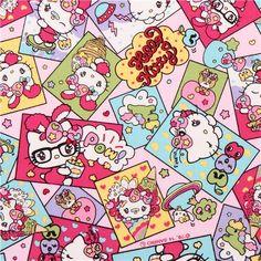 kawaii pink Hello Kitty laminate fabric comic candy apple Sanrio Japan