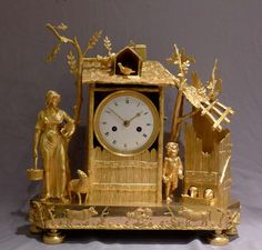 Antique French Empire ormolu mantel clock of the Arcadian Genre. at Gavin Douglas Fine Antiques Ltd. in London, specialists in antique clocks and decorative gilt bronze Large Vintage Wall Clocks, Large Clock, Antique Clocks, Fancy Watches, Classic Clocks, Retro Clock, Wall Clock Online, Mantel Clocks, French Empire