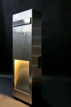New Pr gnante Briefkastens ule aus Edelstahl mit Hausnummer Stilvolle Briefkastens ule mit Hausnummer Licht und Zeitungsfach