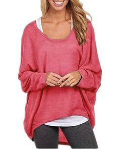 Yidarton Frauen Sexy Asymmetrisch Langarm Pullover Pulli Strickjacke  Oversized Baggy Lose Jumper T-shirt Tops Bluse: Bekleidung. Material: 30%  Baumwolle und ...