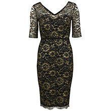 Gina Bacconi Metallic Scallop Lace Dress, Black/Gold