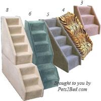 CARPETED DOG STEPS wood pet stairs, SMALL, TALL
