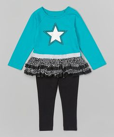 Look at this Teal Skirted Tunic   Black Leggings - Infant fb54a20ed162