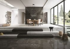 Pietra grey maximum Marmi maximum, grey marble effect floor and wall coverings Armani Grey Marble, Gray Marble, Home Design, Interior Design, Living Area, Living Room, Marble Floor, Marble Tiles, White Tiles
