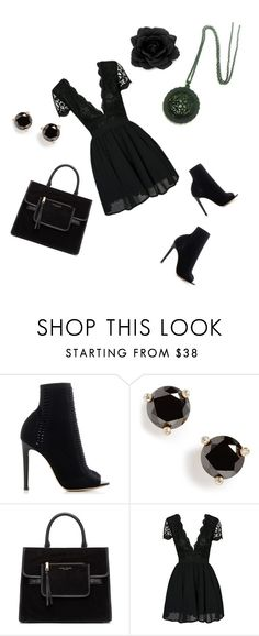 """""""Woman In Black"""" by carrarenee ❤ liked on Polyvore featuring Gianvito Rossi, Kate Spade, Marc Jacobs, fashionista and ootd"""