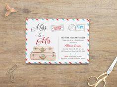 Travel Bridal Shower Invitation, Miss to Mrs, Travel Themed Invites, Wedding Shower, Blue Red Postcard, Digital Invitation, Printable 5x7