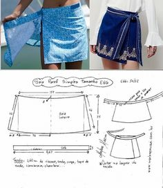 Юбка-конверт.Выкройка Wrap Skirt Patterns, Simple Skirt Pattern, Pattern Skirt, Tie Pattern, Skirt Patterns Sewing, Sewing Patterns Free, Sewing Paterns, Tie Skirt, Dressmaking