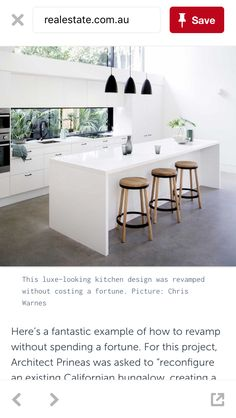 White joinery with black accent. Beautiful stools