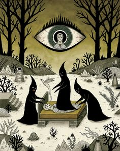 Jon Macnair. Three Shadow People Terrify a Victim During an Episode of Sleep Paralysis, 2010. India ink and watercolor on paper.
