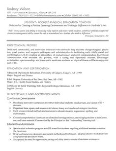 Teacher Resume Example - PE Teacher