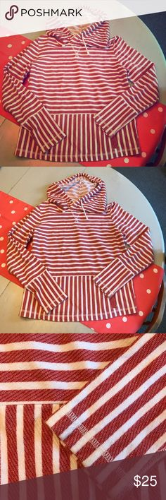 SALE 🎃 J. Crew striped sweatshirt In excellent used condition. Size medium J. Crew red and white striped hoodie with drawstrings and front pocket. J. Crew Factory Tops Sweatshirts & Hoodies