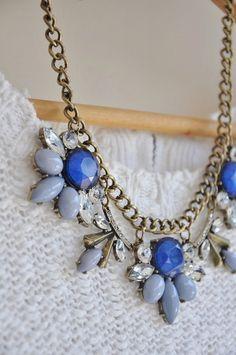 Blue Jewel Crystal Statement Necklace by Anne Emma Jewelry