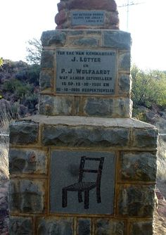 "Stoel Monument near Middelburg in Eastern Cape, South Africa (created by nelcoe) - One of the top commandants in the Cape, Johannes LÖTTER was known for his daring ""hit and run"" tactics. On 12 October 1901 LÖTTER was taken to a spot next to the Richmond Road where he was tied to a chair and shot. He was buried there and this is where the ""Stoel Monument"" still stands. African States, 12 October, My Land, African History, British Army, Homeland, South Africa, Earth, Landscape"