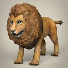 Low Poly Realistic Lion by cghriggs Here is the low poly realistic model of Lion. Model has perfect edge loop based topology. All materials and textures are inclu Cartoon Lion, Lion And Lioness, Normal Map, Loch Ness Monster, 3d Drawings, Low Poly, 3d Design, Big Cats, Cheetah
