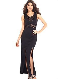 Pink Queen Womens Elegant Off Shoulder Lace Mesh Double Slits Maxi Evening Dress   $18.99(On sale from $50.99)