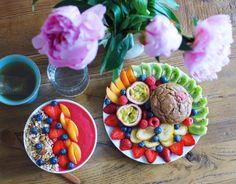 Treat yo self! Breakfast for champions. Smoothie bowl, fruit platter and healthified muffin