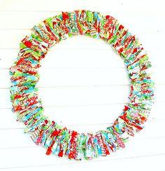 OchristmasTree large 30 inch rag wreath - View it: http://stunninghomedecor.com/2015/10/02/ochristmastree-large-30-inch-rag-wreath/