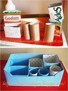 Portefólio de ideias: Organização Cardboard Box Crafts, Toilet Paper Roll, Diy Box, Art N Craft, Craft Storage, Diy Organization, Craft Projects, Upcycle, Decoupage
