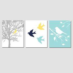 Modern Bird Trio - Set of Three 8x10 Prints - Modern Nursery Art - Dark Navy Blue, Aqua Blue, Yellow, Gray, and More. $55.00, via Etsy.