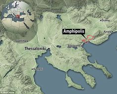 Experts believe the ancient mound, situated around 65 miles from Thessaloniki (shown on the map) was built for a prominent Macedonian in around 300 to 325 BCE Greek Sites, 4 Kingdoms, Alexandre Le Grand, Macedonia Greece, Greece Pictures, Great Father, Alexander The Great, Thessaloniki, Ancient Artifacts