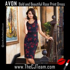 Bold and Beautiful Rose Print Dress in Misses. Avon. Figure-friendly floral, you'll look good from every angle in the ultra-smoothing scuba fabric that defines curves without clinging. Available in sizes S-3X. NEW! Regularly $34.99.  #CJTeam #Avon #Style #Sale #Fashion #New  #C11 #BoldAndBeautiful #Rose #Dress #SignatureCollection #Avon4me FREE shipping with any $40 online Avon purchase.  Shop Avon fashion online @ www.TheCJTeam.com