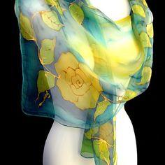 Roses Silk Scarf, Hand Painted Silk Scarf, Gold Yellow Turquoise Aqua, Floral Chiffon Silk Scarf, CUSTOM ORDER