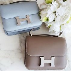 Perfect these HERMÈS Constance Bags in Baby Blue & Taupe  from @the_bagcurator  #HERMESBag  #HERMESConstance