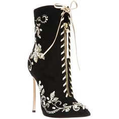 CASADEI embroidered stiletto boot ($2,020) ❤ liked on Polyvore featuring shoes, boots, ankle booties, heels, scarpe, booties, leather heel boots, heeled booties, leather ankle booties and pointed toe booties