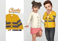 Unisex Toddler Chunky Cardigan for The Sims 4 Toddler Cc Sims 4, Sims 4 Toddler Clothes, Sims 4 Cc Kids Clothing, Sims 4 Mods Clothes, Toddler Outfits, Kids Outfits, Sims Mods, Girl Toddler, Sims 4 Cc Packs