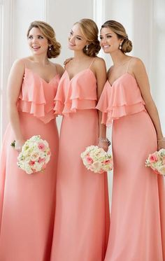 Vintage Straps V Neck Tiered Elegant Long Bridesmaid Dress 2017 Blush Pink  Simple Chiffon Wedding Party 74bbd03e5ea9
