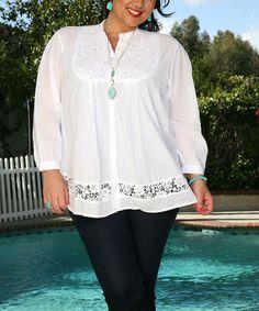 Look what I found on #zulily! White Button-Up Tunic - Plus #zulilyfinds