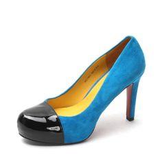 【真美诗joypeace ZTB11AQ3 蓝色】JOY-PEACE/真美诗蓝色羊皮/黑色漆牛皮ZTB11AQ3春季单鞋专柜