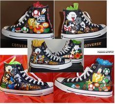 Hand Painted Converse All Star 'Chuck Taylor' High Top Shoes - Customizable Mario Power Ups VS Enemies - Any Size. $300.00, via Etsy.