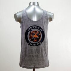 Vintage 80's Detroit Tigers Logo // triblend athletic grey tank top // xs-xl available. $22.00, via Etsy.