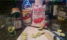 Prep table for my caipirinha. That sugar is the key for me.