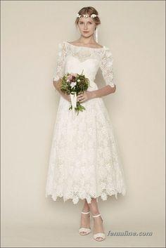 111 elegant tea length wedding dresses vintage (50)