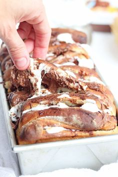 Pull Apart Nutella Smores Bread -- Sweet bread stuffed with marshmallows and Nutella, perfect for every party   gatherforbread.com