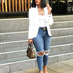 Casual Attires For Creative Ladies – jane doe Casual Attires For Creative Ladies Blue Jean looks classy casual & hip Casual Work Outfits, Business Casual Outfits, Curvy Outfits, Classy Outfits, Stylish Outfits, Fall Outfits, Summer Outfits, Summer Shorts, Black Women Fashion