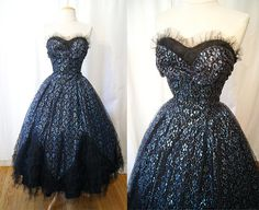 Reserved Stunning 1950's Metallic Blue & Black Lace by wearitagain, $398.00
